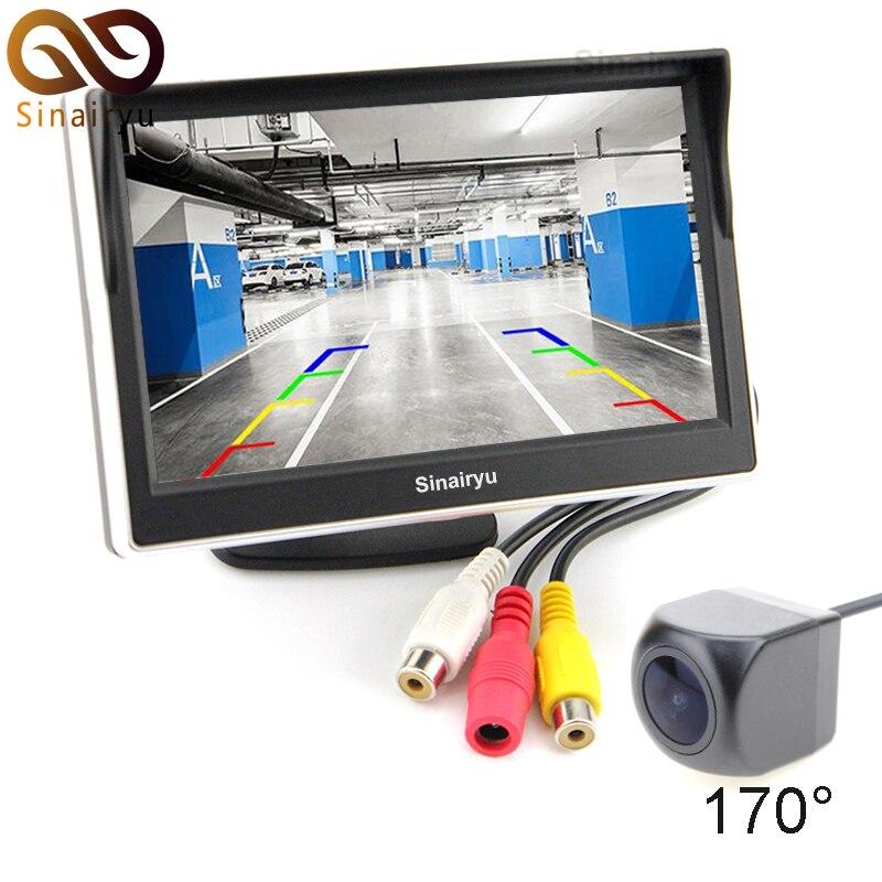 Sinairyu 5 pouces moniteur de vue arrière de voiture TFT LCD écran couleur affichage numérique + caméra de recul Fisheye MCCD