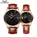 GUANQIN Pair of Couple Quartz Wrist Watches for Lovers Fashion Waterproof Watches with Leather Strap Men Women Wristwatches relo