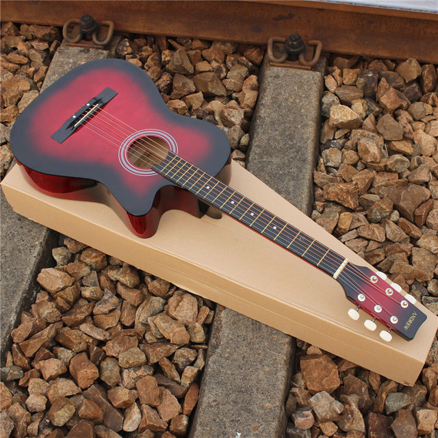 Free Shipping Folk Guitar 38 Inches Red The Original Wood Guitar