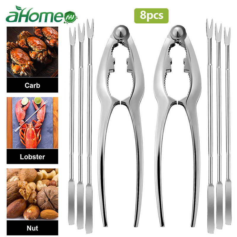 Metal seafood crackers picks crab peeler Scissors Needles shrimp tool lobster clamp pliers clip pick Sea food Opening Tools set