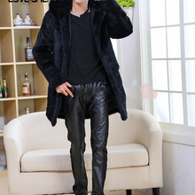 Real genuine natural rabbit fur coat men jacket with hood warm outwear overcoat