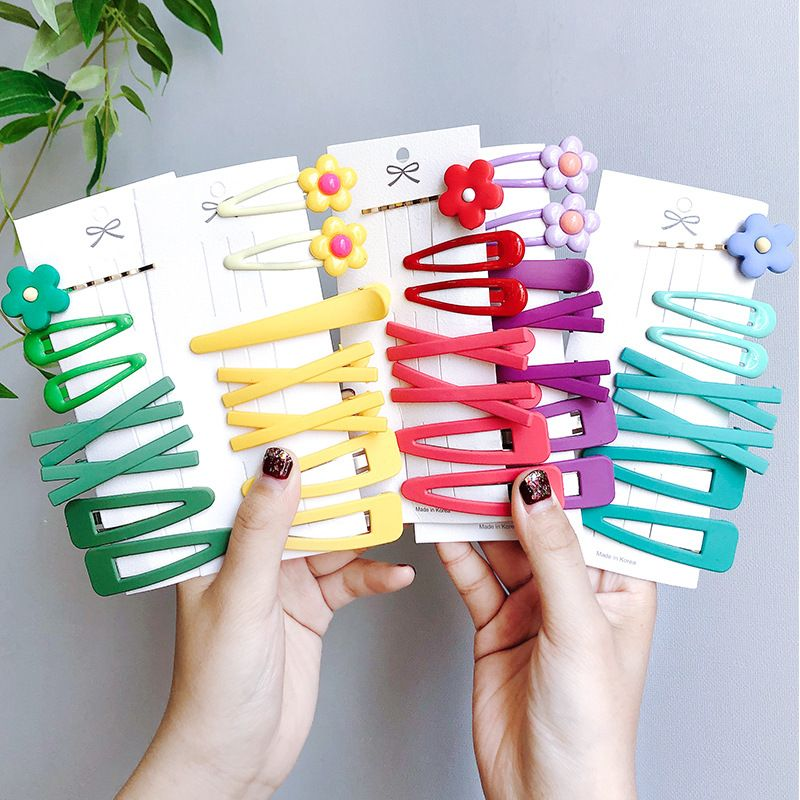 7PCS/Set Women Girls Candy Colors Cute Flower Geometric Hair Clips Sweet Hairpins Headband Barrettes Fashion Hair Accessories