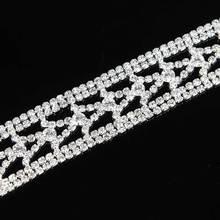 10Yards Glass Rhinestone Trim Bridal Chains Fit Sew On Wedding Party Silver Sewing Crafts