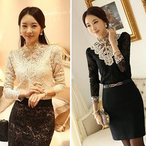 4774b90e239d6 Women s Fashion Korean Style Elegant Rhinestone Inlaid Long Sleeve Lace  Shirt