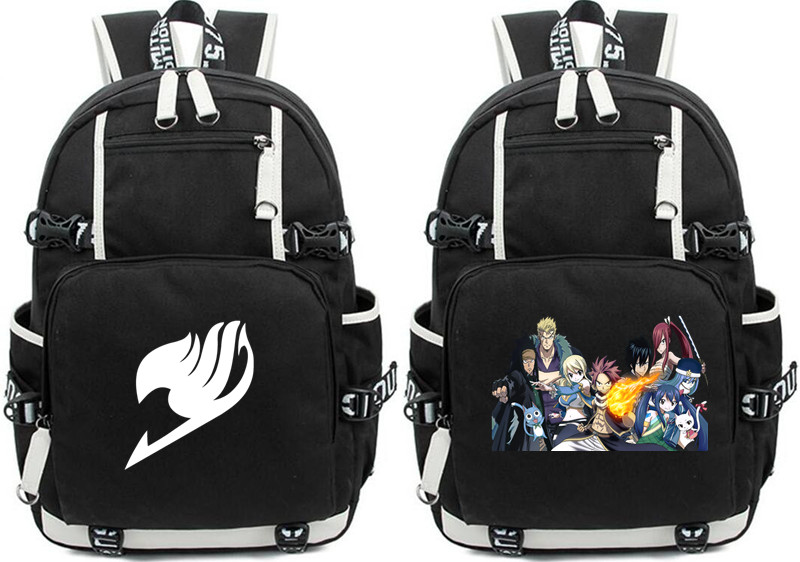 Anime Fairy Tail Backpack Large Oxford Cartoon Printing Shoulder Bag for Boys Girls Travel Laptop Book Bags
