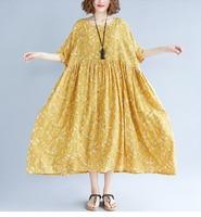Women Dress Summer Plus Size Femme Elegant Lady Pleated Vestidos Large Clothing Loose Print Linen Yellow Dress 100KG Fit LP229