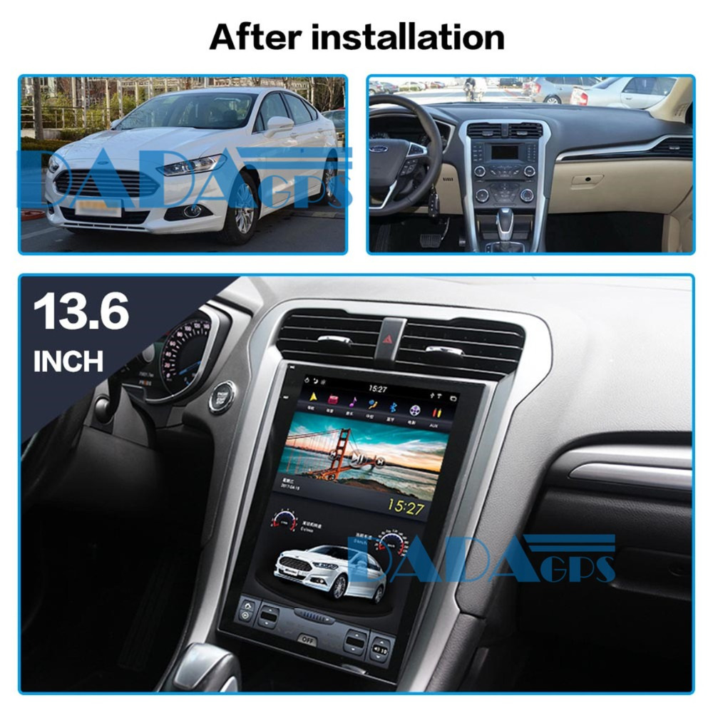 Tesla Car DVD GPS Navigation For Ford Mondeo Fusion MK5 2017 2018 13.6 Inch Android Radio Tape Recorder Video Multimedia Unit