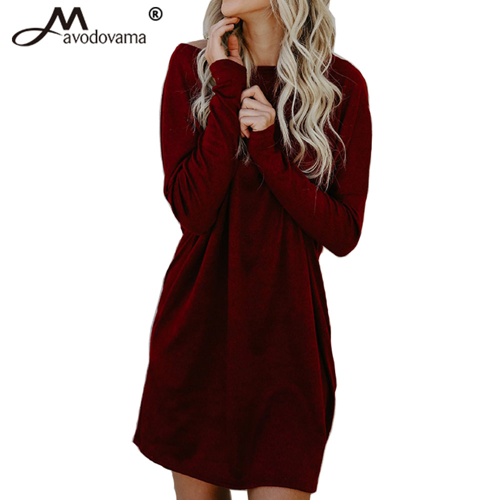Avodovama M New Fashion Long Sleeve Pockets Loose Knitted Solid Dresses Sexy Slash Neck Women Casual