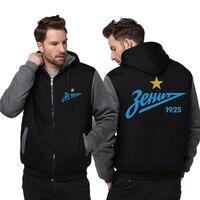 USA Size FC Zenit St Petersburg Logo Hoodie Fashion Russian Premier League Coat Zipper Winter Fleece