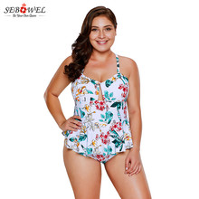 df29db75a1 SEBOWEL Plus Size Floral Print Peplum One Piece Swimsuit 2019 Summer Women  Ruffle Monokini Swimwear One