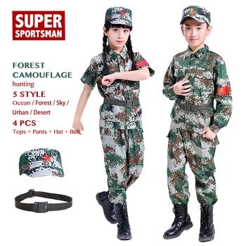 64abf8d7650d7 Men Hunting Clothes Boys Airsoft Sniper Ghillie Suits Children Camo Girls  Camouflage Sets Kids Jungle Jackets+Pant+Hat+Belt 4pcs