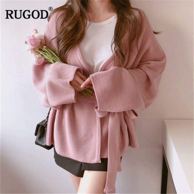Image 3 - Женский кардиган с длинным рукавом RUGOD, однотонный Повседневный  вязаный свитер с поясом, осенне зимняя одежда, 2019Кардиганы   -