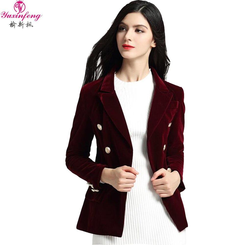 Yuxinfeng 2019 Printemps Noir Vin Rouge Velours Blazer Femmes Manches  Longues Boutons Costume Veste Bureau Dames Blazers Vêtements de Travail  dans Blazers ... d1478a88556