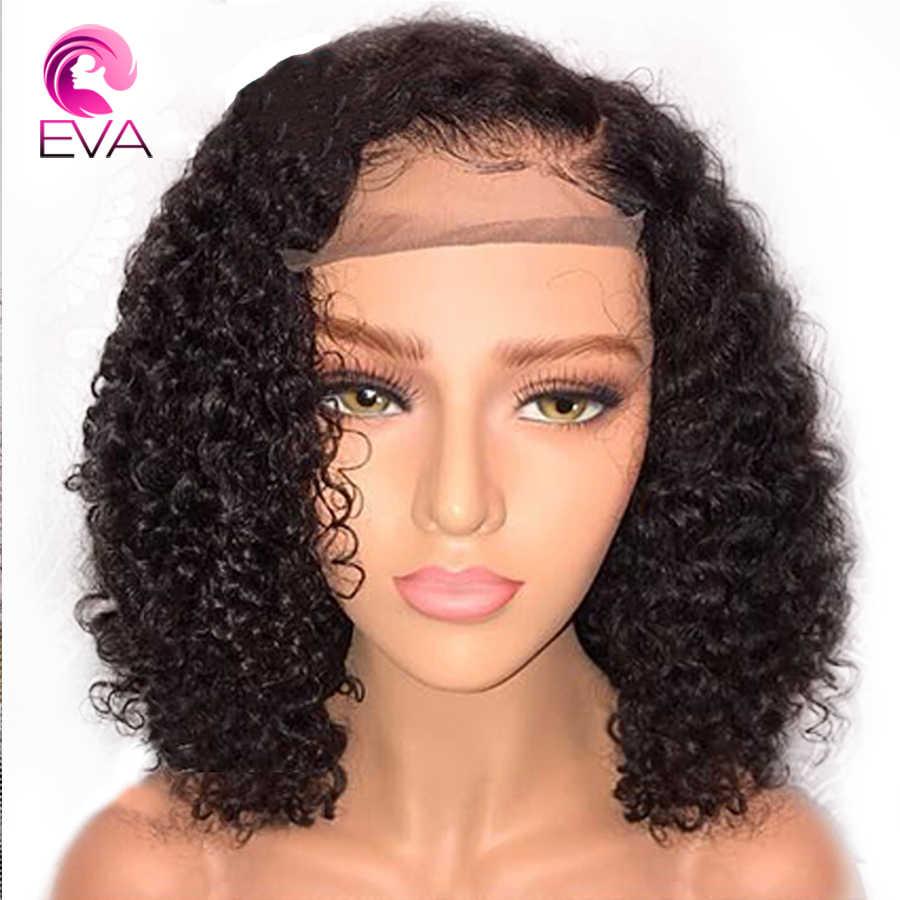Eva Bob corto 180% densidad 360 pelucas frontales de encaje Pre desplumado con pelo de bebé nudos blanqueados Peluca de pelo Remy brasileña para las mujeres