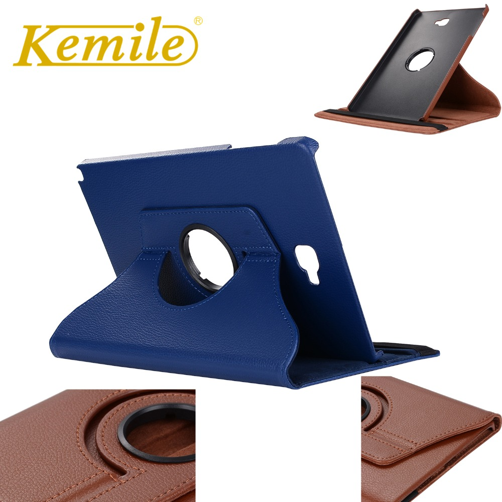 Kemile 360 Degree Rotating Portable Stylish PU Leather Smart Wake Up Stand Case For Samsung Galaxy Tab A 10.1 P580 P585 Case