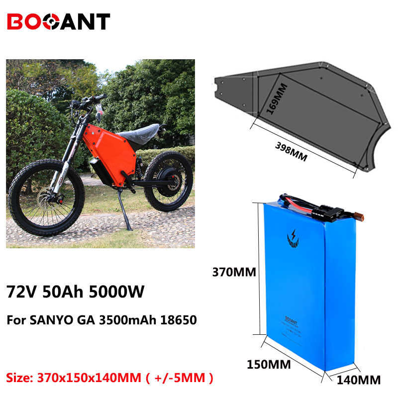 72V 50Ah 5000W Snow Fat Electric Bike battery 72V rechargeable lithium ion battery for Sanyo 18650 cell with fast 5A Charger
