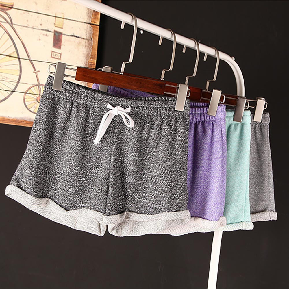 Women's Summer Shorts Sports Casual Polyester Mid High Waist Solid Home Shorts Trousers Bow Drawstring Feminino #