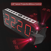 Alarm Clock FM Radio Snooze Timer Temperature 180 Degree Table Wall Clock Clock LED Display USB Charge Cable