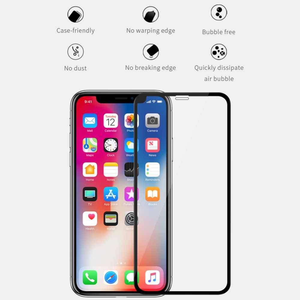 NILLKIN XD CP+MAX Full coverage Tempered Glass Screen Protector for iPhone  X XR XS Max 7 8 Plus Glass 3D Safety Protective film
