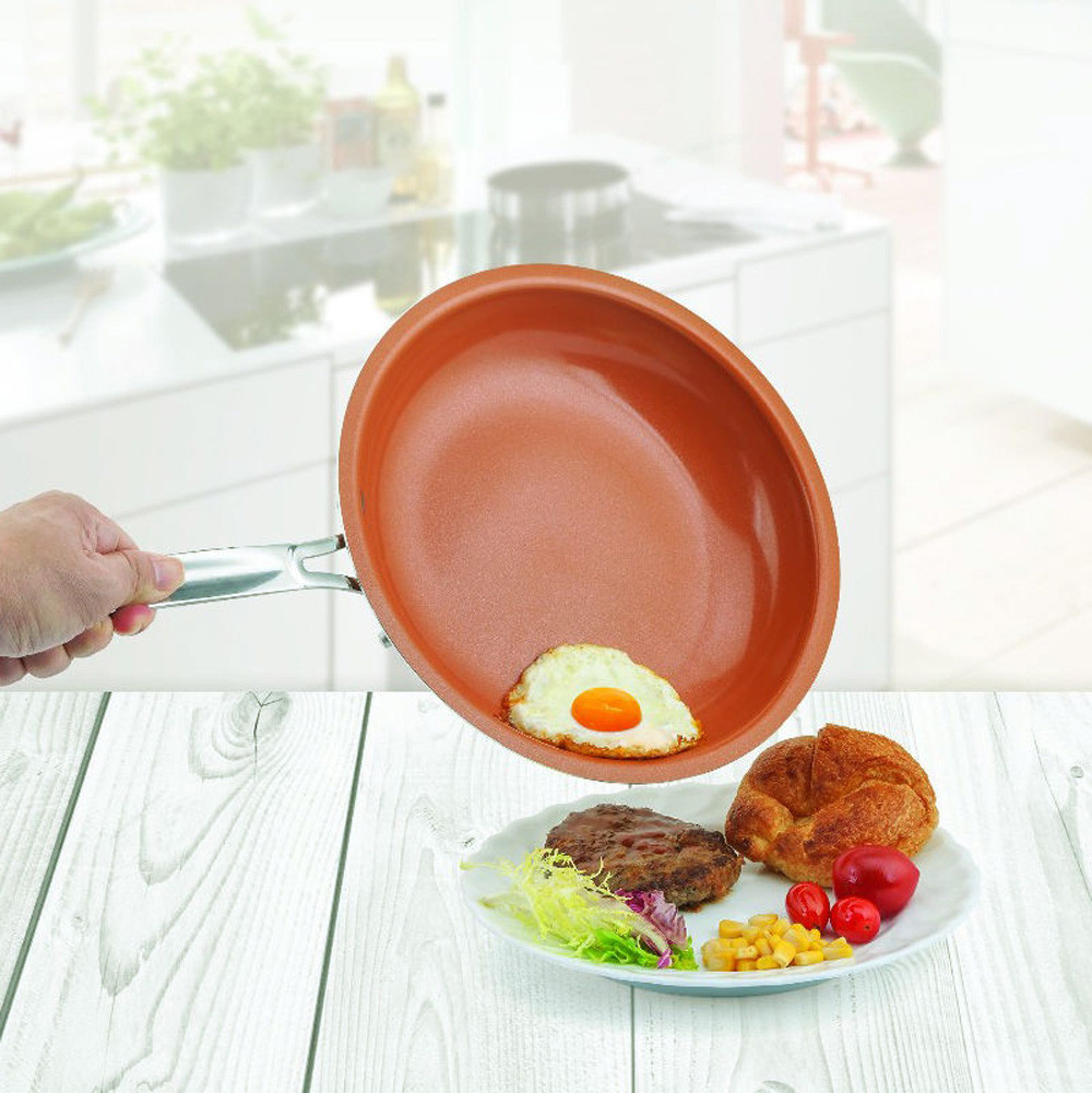 ISHOWTIENDA 1pc Non-stick Copper Frying Pan With Ceramic Coating And Induction Cooking Oven Safe Pans Cookware 0521