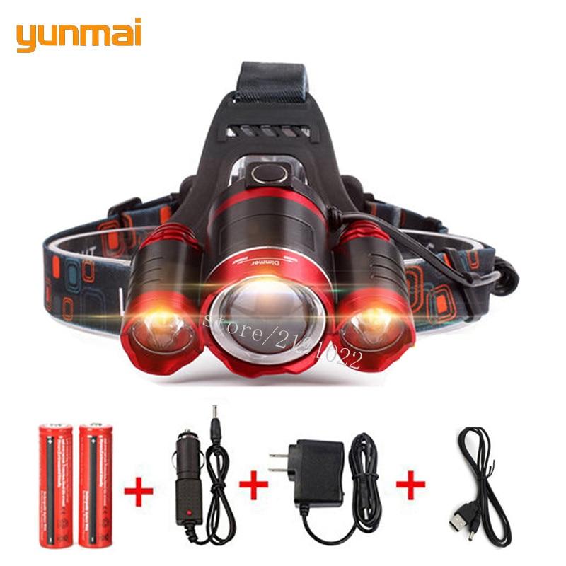9000Lm Led Lighting Head Lamp T6+2Q5 LED Headlamp Headlight Camping Fishing Light +2*18650 Battery+Car EU/US/AU/UK Charger+1*USB