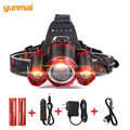 9000Lm Led Lighting Head Lamp T6+2Q5 LED Headlamp Headlight Camping Fishing Light +2*18650 Battery+Car EU/US/AU/UK Charger+1*USB