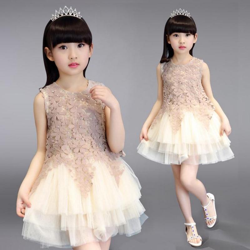 New baby girl dress 2017 summer party sleeveless patchwork girls tutu dress princess toddler lace flower clothes vestido 2-12T