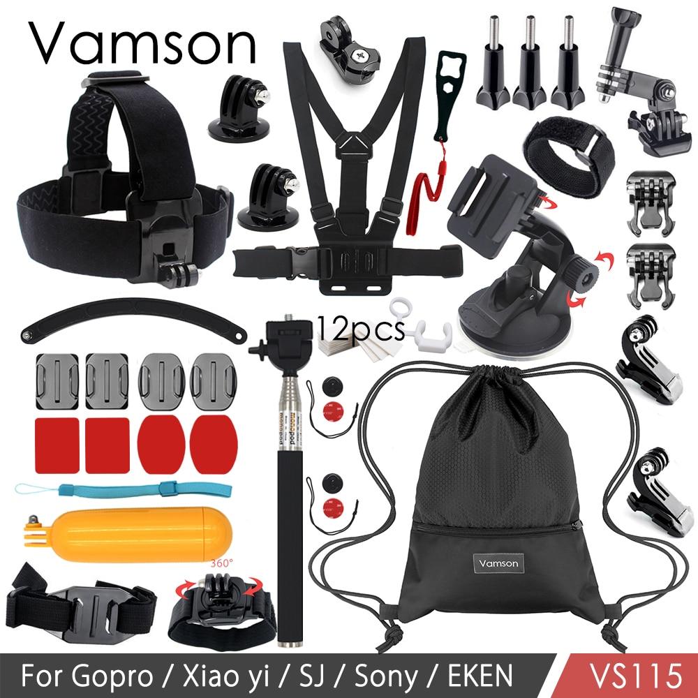 Galleria fotografica Vamson Accessories for Gopro Hero 6 5 4 3 for Xiaomi Yi/Eken/SJCAM Vamson Bag Monopod Tripod VS115