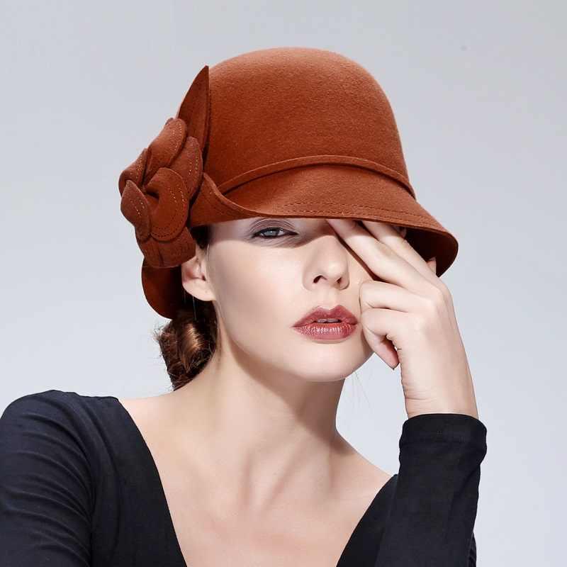 a99cf8343b01d New Autumn and Winter Wool Hat Female Woolen Hat Ladies Elegant Small Along  Basin Cap Adult