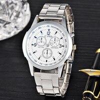 Korean version of the simple blue glass fake three eyes men's iron chain watch steel belt quartz watch watch