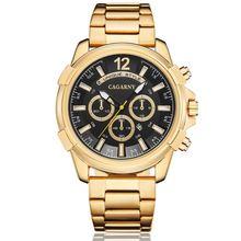 купить Cagarny Top Brand Men Golden Stainless Steel Watches Men's Fashion Business Quartz Male Wristwatch Relogio Masculino Clock watch по цене 1081.18 рублей