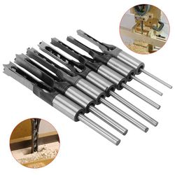 7PCS 1/4 to 1/2 Square Hole Drill Bit 45 Steel Mortising Drilling Woodworking Tools Mortising Chisel Set Square Hole Drill Bit
