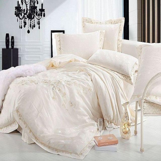Luxury Jacquard Silk bedding set queen king size 4/6pc Beige Satin Princess duvet cover bedclothes bed linen cotton home textile