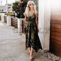 CUERLY 2019 New Summer Fashion Women Sexy Strap Backless Dress Casual Camouflage Military V Neck Print Midi Long Dresses L8