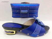 New Blue Color Women Pumps Decorated with Diamonds African Shoes and Bags  Matching Italian High Quality fe1888a62b14