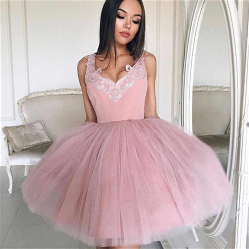 d7aee0c7e0 Detail Feedback Questions about 2018 New Fashion Short Cocktail Party  Dresses Sexy V Neck Lace Organza Mini Lace Junior Formal Mini Dress Vestido  on ...