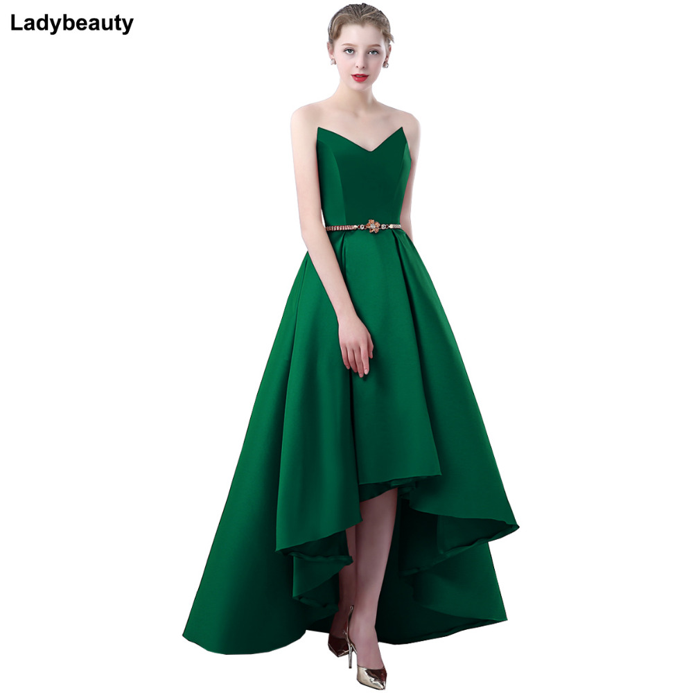 Ladybeauty 2018 Satin   dress   Party Prom Gown Formal Short   Evening     Dress   Sweetheart High-low Simple Style Gown