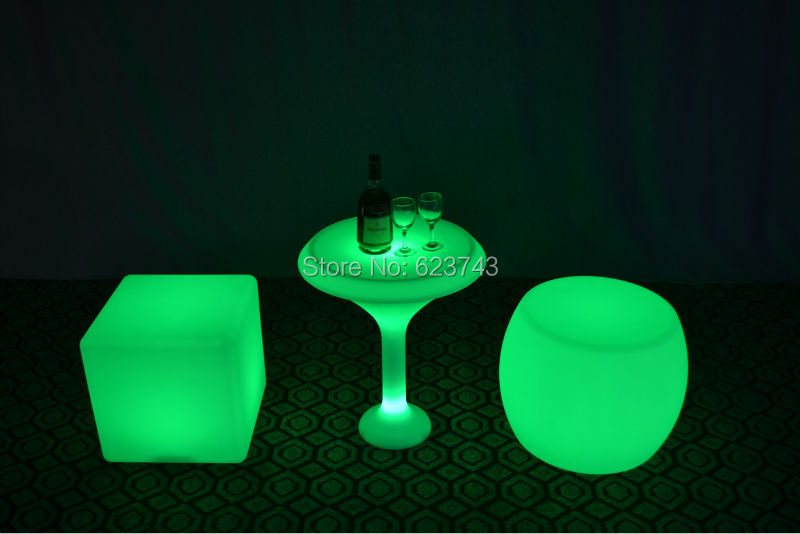 Outdoor Indoor Waterproof H60cm 24Keys IR Remote Colorful LED Illuminated Cocktail Table Bars Lounge LED Waterproof Coffee Table