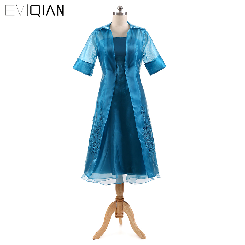 New 2 Pieces Plus Size Mother Of The Bride Dress Organza Half Sleeves Tea Length Women Formal Dress With Jacket