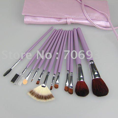 Nylon maquiagem escova de madeira do punho roxo pu couro 12 / set 3 colors pincéis de maquiagem profissional pincel de maquiagem