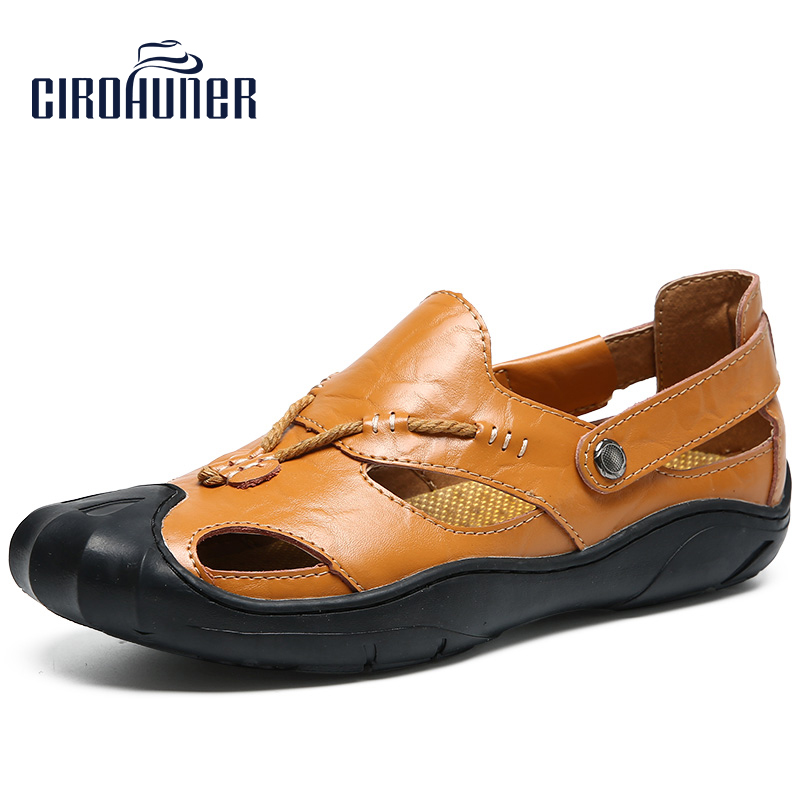 CIROHUNER Mens Sports Sandals Leather Fisherman Sandals Closed Toe Summer Outdoor Beach Shoes Water Slippers