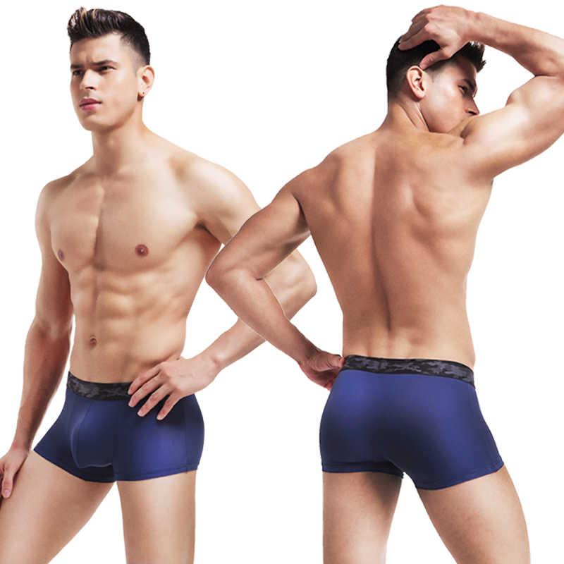 0284fd78953e ... New ice silk Sexy Men's Underpants Soft Boxers 3 Color Boxer Men  breathable Boxer Shorts Plus ...