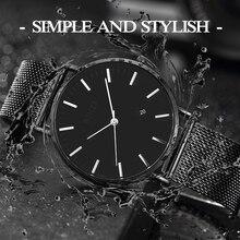 BINZI New Ultrathin Watch Men Black Quartz Men Watch Calendar Stainless Stell Simple Grace Waterproof Relogio