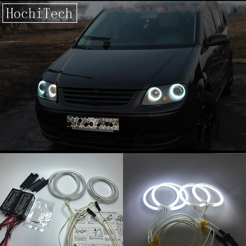 HochiTech For Volkswagen VW Touran 2004-2007 Ultra Bright Day Light DRL CCFL Angel Eyes Demon Eyes Kit Warm White Halo Ring hochitech white 6000k ccfl headlight halo angel demon eyes kit angel eyes light for vw volkswagen golf 5 mk5 2003 2009