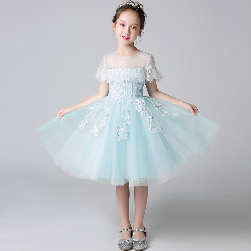 2018 New Kid Baby Birthday Wedding Holiday Party Princess Flower Dress Children Toddler Model Show Host Piano Costume Dress E139 все цены