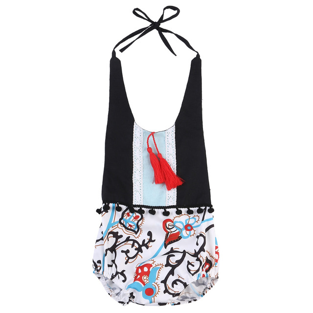 9a66a6699d01 2018 Summer style Baby Girls Floral Romper Baby Girl Tassel Halter Jumpsuit  Outfits Newborn Baby Clothes