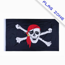 Large Skull Crossbones Pirate Flag Jolly Roger Red Cap Polyester Flag 5*3 FT 150*90 CM (Leave massage if you want add eyelets)