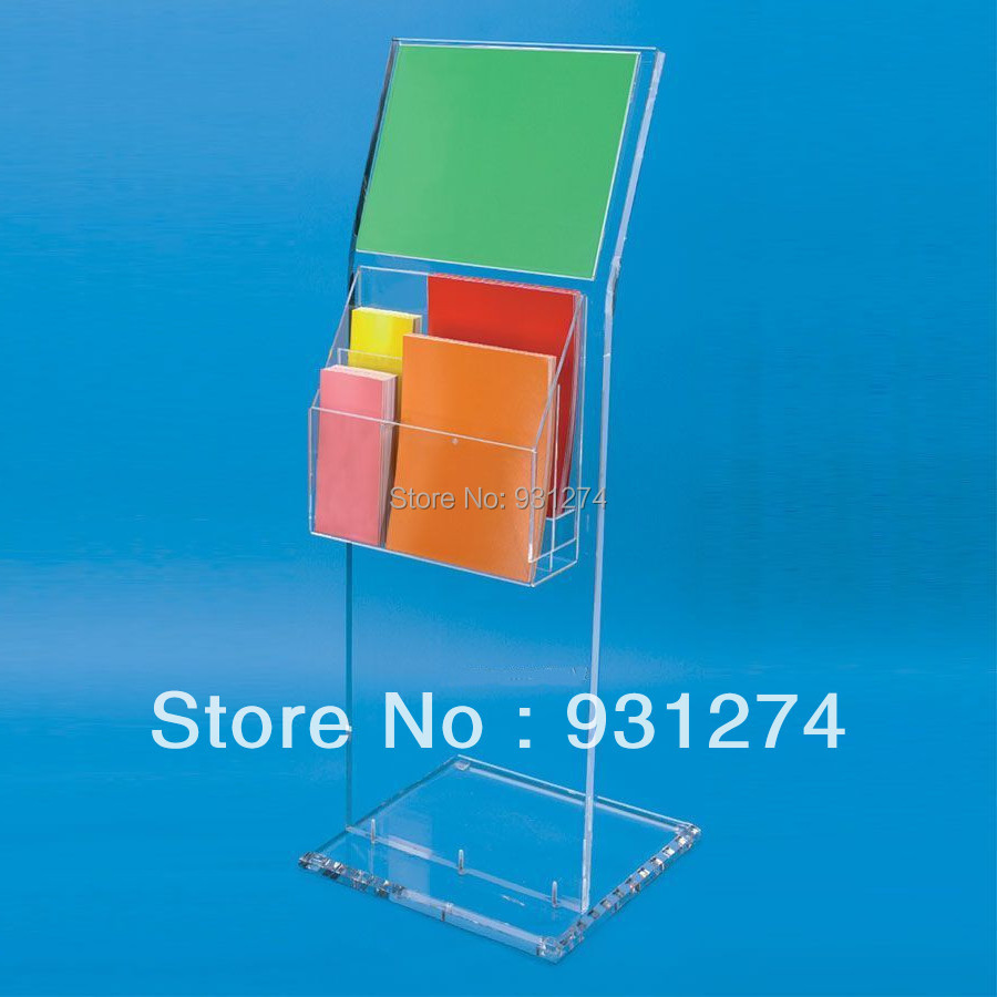 Floor Standing acrylic magazine holder for office lobby,Lucite Perspex Literature rack