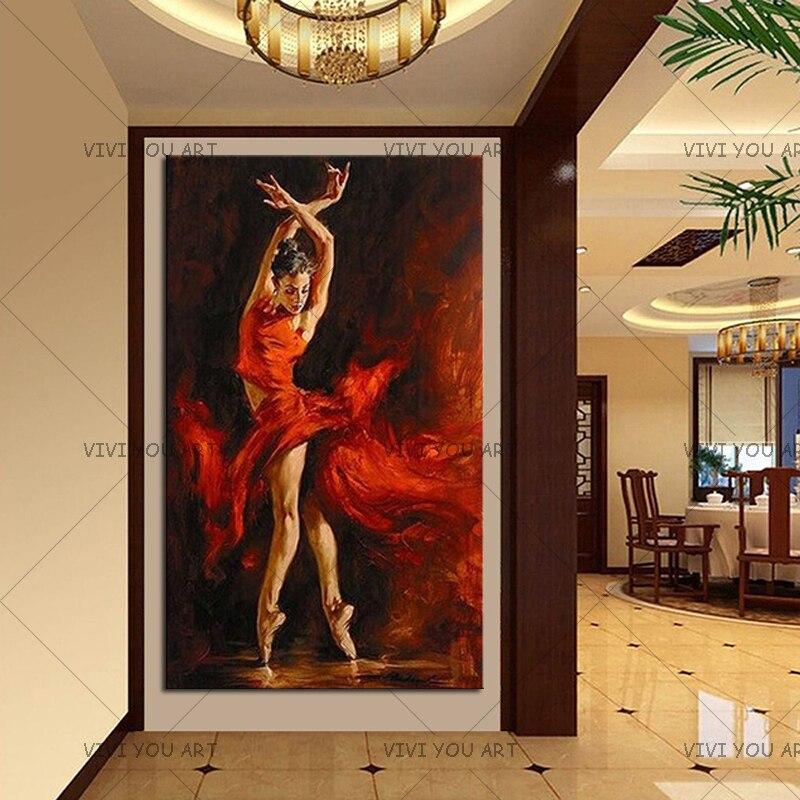Compétence chine peintre 100% à la main Ballet danseur peinture à l'huile sur toile haute qualité danse salle Figure peintures pour la décoration intérieure