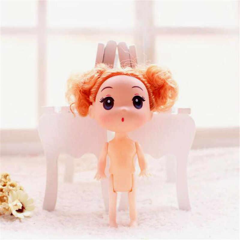 Mini bebek bebek hareketli eklem kafa oyuncak silikon kız bebekler küçük kolye oyuncaklar kız erkek hediyeler 2020 yeni 12CM 1 adet